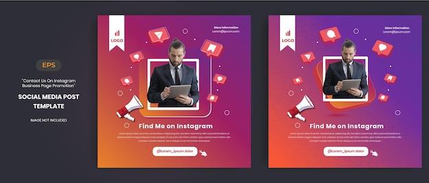 Contattaci promozione della pagina aziendale con l'icona del vettore 3d per il post di instagram
