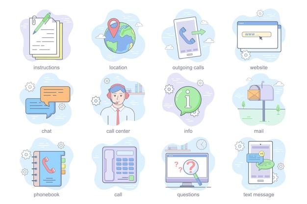 Contattaci concetto icone piatte set pacchetto di istruzioni posizione chiamata in uscita informazioni chat telefono centro commerciale...