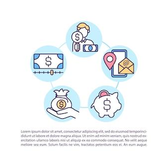 Contattaci icona di concetto con il testo. implementazione della strategia di riduzione dei costi di prodotti e servizi. modello di pagina ppt.
