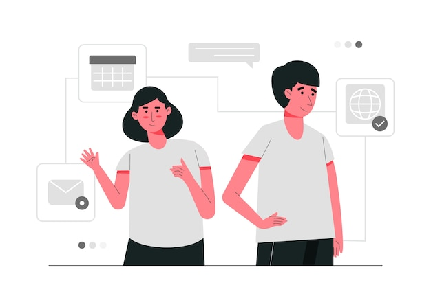 Contattaci sul concetto di illustrazione di e-mail e sito web