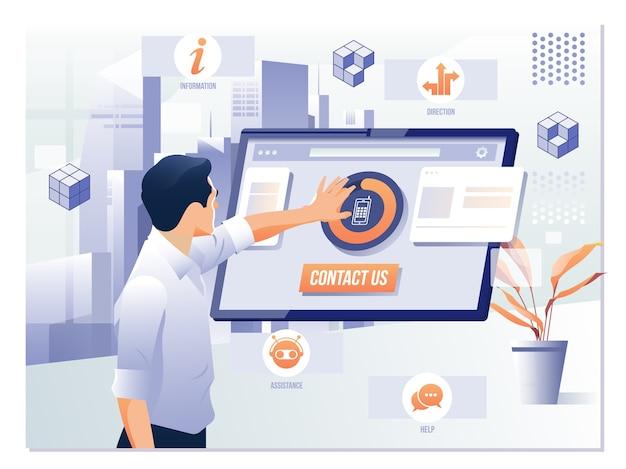 Contattaci feedback assistenza clienti concetto di aiuto