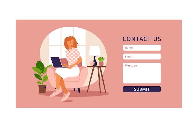 Contattaci modello di modulo per il web e la pagina di destinazione. cliente femminile che comunica con il cliente. assistenza clienti in linea, concetto di help desk e call center.