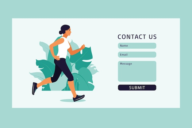 Contattaci modello di modulo per il web e la pagina di destinazione. ragazza che corre nel parco. donna che fa attività fisica all'aperto al parco, in esecuzione.