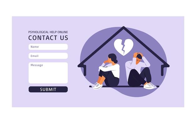 Contattaci modello di modulo per il web. un uomo e una donna in una lite. due personaggi seduti schiena contro schiena, disaccordo, problemi di relazione.