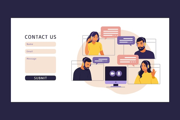 Contattaci modello di modulo per il web. video riunione del gruppo di persone. riunione in linea tramite videoconferenza. lavoro a distanza