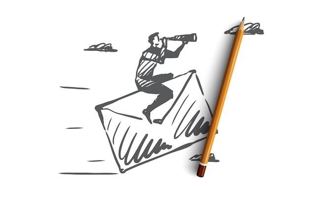 Contattaci, posta, cliente, concetto di servizio. uomo disegnato a mano che si siede sullo schizzo di concetto della posta di carta.