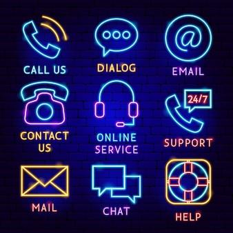 Contattaci set di etichette al neon. illustrazione vettoriale di promozione aziendale.