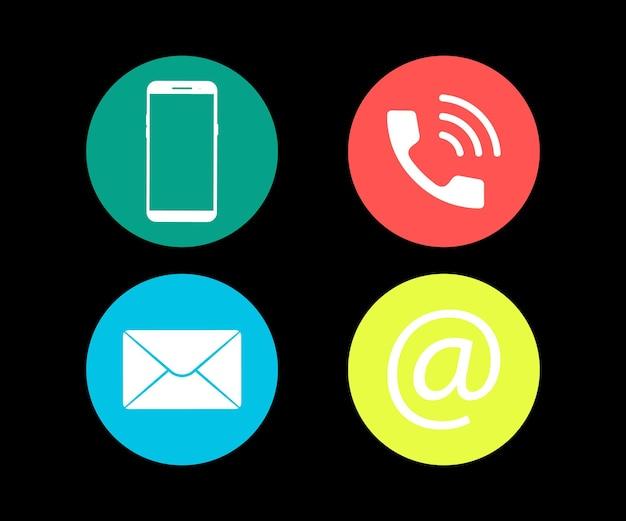 Contattaci simboli icone della rete di social media. icona delle comunicazioni