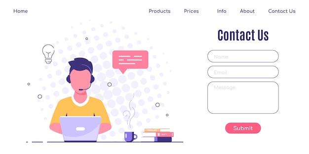 Contattaci modello di progettazione della pagina web in stile piatto