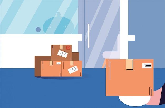 Consegna senza contatto, scatole di acquisti stanno alla porta