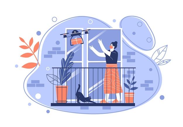 Illustrazione di concetto di consegna senza contatto. la donna sul balcone dell'appartamento riceve un pacco quadricottero. l'uso della moderna tecnologia nella consegna tramite corriere. vettore