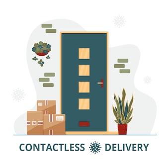 Concetto di consegna senza contatto con scatole in piedi davanti alla porta