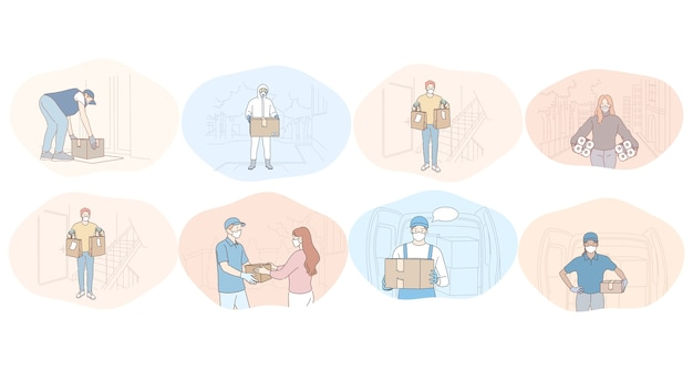 Consegna senza contatto, corriere, ordine online, acquisto, logistica, protezione durante il concetto di epidemia