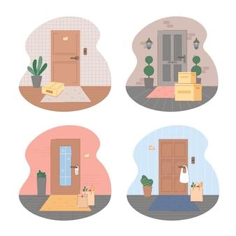 Set di illustrazione di consegna senza contatto.