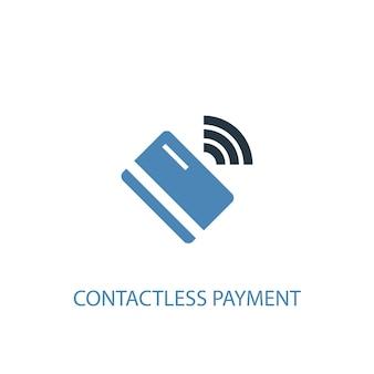 Concetto di pagamento senza contatto 2 icona colorata. illustrazione semplice dell'elemento blu. disegno di simbolo del concetto di pagamento senza contatto. può essere utilizzato per ui/ux mobile e web