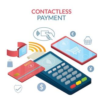 Concetto di pagamento senza contatto, wireless