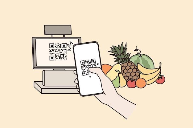 Pagamento senza contatto con il concetto di codice qr