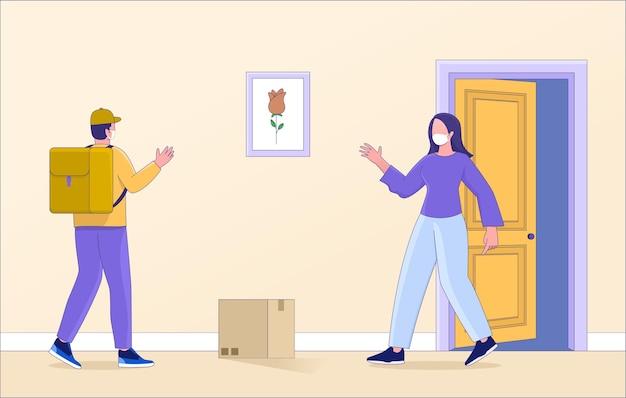 Concetto di illustrazione di consegna di sicurezza senza contatto