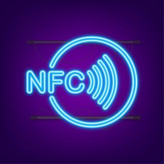 Logo del segno di paga wireless senza contatto. icona al neon. tecnologia nfc. illustrazione di riserva di vettore.
