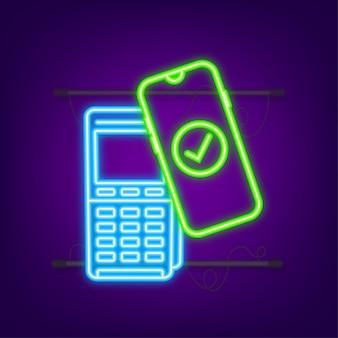 Logo del segno di paga wireless senza contatto. tecnologia nfc. icona al neon. illustrazione vettoriale.