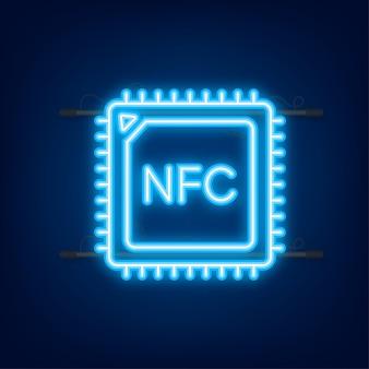 Logo del segno di paga wireless senza contatto. tecnologia nfc. illustrazione vettoriale. icona al neon.