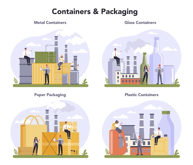 Set di industria di contenitori e imballaggi. materiale da imballaggio in metallo, vetro, carta e plastica. standard di classificazione industriale globale.