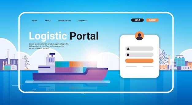Nave portacontainer che carica nel modello della pagina di destinazione del sito web del porto marittimo cargo logistica trasporto merci concetto orizzontale copia spazio illustrazione vettoriale