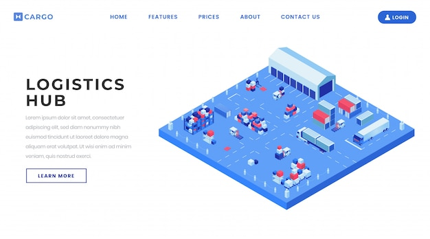 Modello di vettore della pagina di atterraggio dell'iarda del contenitore. idea dell'interfaccia della homepage del sito web del centro di logistica di trasporto con le illustrazioni isometriche.