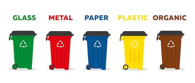 Contenitori per rifiuti di diversi tipi per la raccolta differenziata e il concetto di riciclaggio