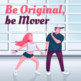 Contempare post sui social media in classe di danza. sii originale, sii la frase del motore. modello di progettazione banner web. booster di ballerini moderni, layout dei contenuti con iscrizione.