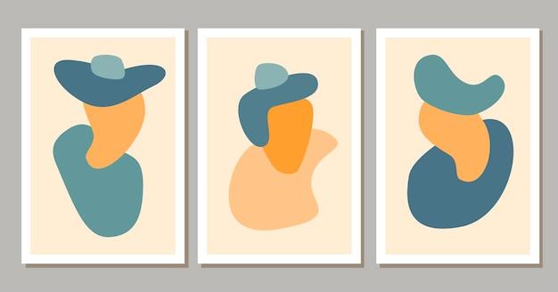 Forme astratte contemporanee poster boho sfondo moderno con estetica bohémien