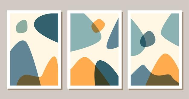 Poster boho di forme astratte contemporanee sfondo moderno con estetica bohémien