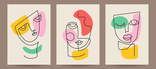 Set di copertine d'arte contemporanea con disegno a linea continua