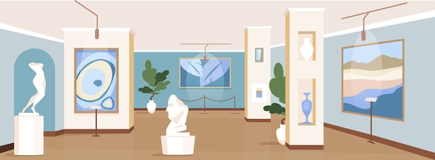 Colore piatto galleria d'arte contemporanea. mostre di pittura per escursione. vetrina di capolavori moderni. interno del fumetto 2d del museo culturale con installazioni di opere d'arte sullo sfondo