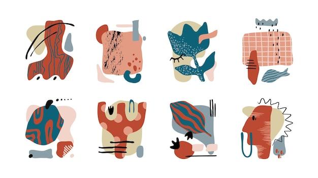 Collage contemporaneo. insieme astratto disegnato a mano alla moda con texture grunge e forme organiche. le macchie dipinte di doodle a mano libera di vettore modellano la geometria minima estetica