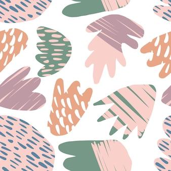 Modello senza cuciture floreale contemporaneo. forme colorate naturali astratte moderne o macchie. concetto di design tessile alla moda in tessuto su sfondo bianco