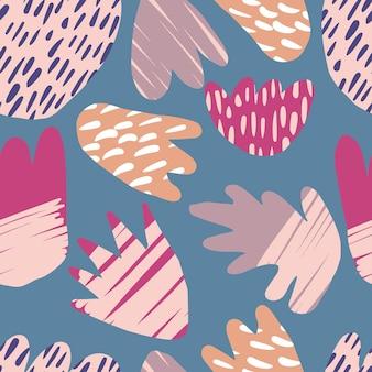 Sfondo di macchie disegnate a mano contemporanea. modello senza cuciture floreale astratto. forme colorate naturali moderne. concept design tessile alla moda in tessuto