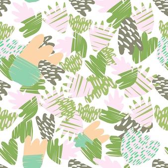 Macchie disegnate a mano contemporanee su sfondo bianco. modello senza cuciture di forme floreali astratte. concept design alla moda per copertine tessili o di libri, sfondi, design, arte grafica, confezionamento