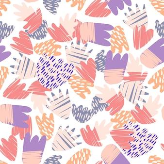 Macchie disegnate a mano contemporanee su sfondo bianco. modello senza cuciture di forme floreali astratte. forme colorate naturali moderne. concept design tessile alla moda in tessuto