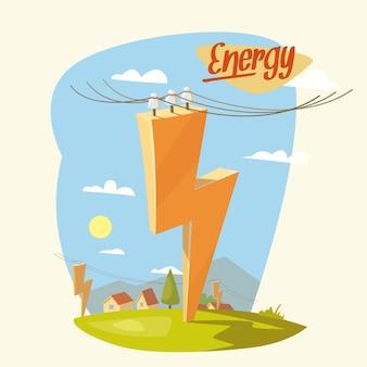 Illustrazione contemporanea sul tema dell'energia. paesaggio naturale con case.