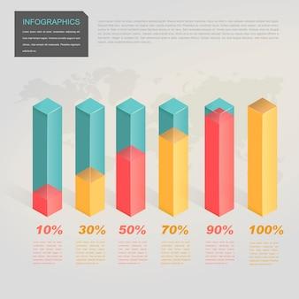 Design infografico contemporaneo con elementi grafici a barre traslucidi 3d