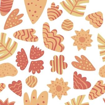 Modello senza cuciture di foglie contemporanee. carta da parati floreale astratta di tiraggio della mano. illustrazione di vettore di piante esotiche della giungla. concept design tessile alla moda in tessuto