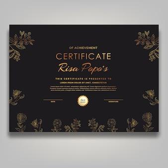 Lusso di certificato di fiore d'oro di metà secolo d'arte contemporanea di linea