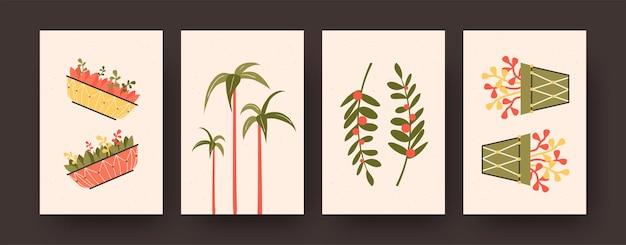 Poster contemporanei ambientati con aloe barberae e fiori in vaso