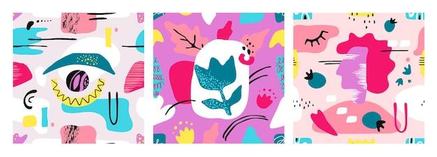Modelli di forme contemporanee. texture alla moda senza cuciture con elementi grunge disegnati a mano astratti e forme organiche dipinte a mano libera. modello moderno di illustrazione vettoriale impostato per francobolli o poster