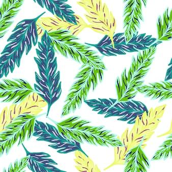 Modello senza cuciture di foglia di palma tropicale contemporanea. ornamento moderno di foglie esotiche. sfondo di fogliame.