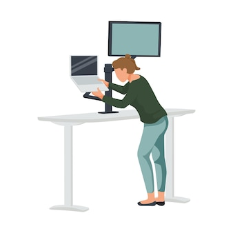 Composizione piatta nell'area di lavoro contemporanea con tavolo alto con computer e illustrazione di una donna in piedi