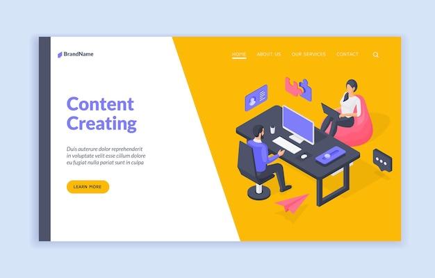 Modello di banner per la creazione di contenuti per la pagina di destinazione