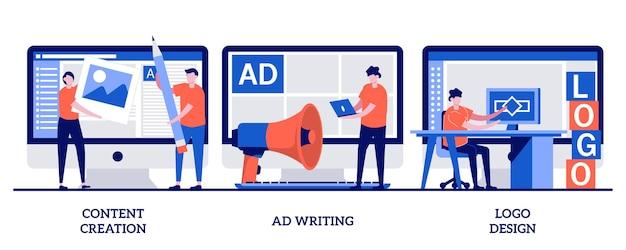 Creazione di contenuti, scrittura di annunci, concetto di design del logo con persone minuscole. set di copywriting di marketing digitale. post sul blog, social media virale, sito web aziendale, cliente.