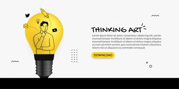 Creatore contento che pensa dentro la lampadina su fondo bianco, concetto creativo di idea